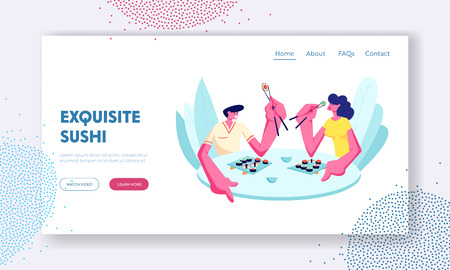 Young Happy Couple Eating Sushi and Rolls with Sticks in Japanese Cafe or Restaurant. Dating, Weekend Leisure, Rest, Sparetime. Website Landing Page, Web Page. Cartoon Flat Vector Illustration, Banner