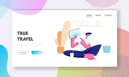 Young Man Sitting on Floor at Home Holding Tablet with Traveling Pictures on Screen. Vacation Memory, Photo, Journey Route Website Landing Page, Web Page. Cartoon Flat Vector Illustration, Banner