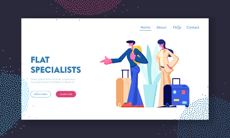 Man and Woman Stand with Luggage. Tourist, Happy Young Couple Search Flat for Rent, Apartment for Leisure, Traveling, Vacation. Website Landing Page, Web Page. Cartoon Flat Vector Illustration, Banner