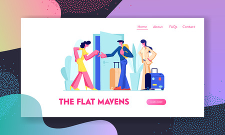 Happy Young Couple Rent Apartment for Leisure. Tourists with Luggage Take Key from Home Owner. Travelers Rent Flat for Vacation Website Landing Page, Web Page. Cartoon Flat Vector Illustration, Banner