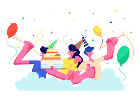 Birthday Party. Group of Cheerful People in Festive Hats Playing Pipes Celebrating Holiday on Colorful Background with Cake, Balloons and Confetti, Men, Women Rejoice. Cartoon Flat Vector Illustration Illustration