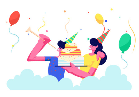 Cheerful Couple in Festive Hats Celebrating Birthday Party Holiday. Rejoice Man Playing Pipe, Girl Holding Cake on Multicolored Background with Balloons and Confetti. Cartoon Flat Vector Illustration
