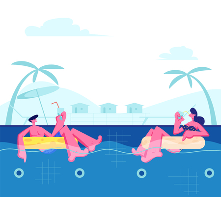 Young Happy Couple Relaxing on Resort, Floating at Inflatable Rings in Swimming Pool and Drinking Cocktails. Tropical Vacation Sparetime, Summertime Leisure, Honeymoon Cartoon Flat Vector Illustration