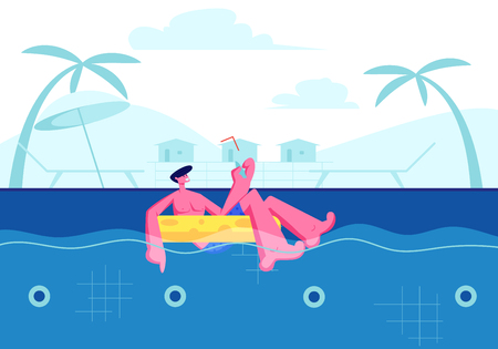 Summer Time Sparetime, Young Happy Man Enjoying Cocktail and Floating at Inflatable Ring in Swimming Pool. Tourist Relaxing on Resort. Tropical Vacation, Leisure. Cartoon Flat Vector Illustration Illustration