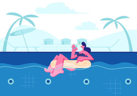 Summertime Leisure, Vacation. Young Happy Woman Relaxing on Resort, Floating at Inflatable Ring in Swimming Pool and Drinking Cocktail. Tropical Vacation Sparetime. Cartoon Flat Vector Illustration Çizim