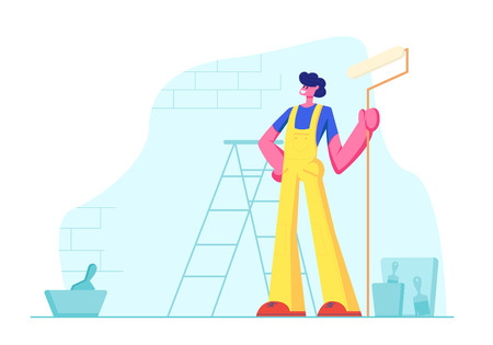 Home Repair Worker with Roller for Wall Painting. Professional Construction Master in Uniform Overalls Stand on Background with Ladder, Paint Buckets and Equipment. Cartoon Flat Vector Illustration 向量圖像