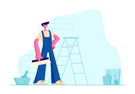 Professional Home Improvement Master in Blue Overalls with Scrapper in Hand. Construction Worker with Tool. Male Character in Uniform and Equipment for Home Repair. Cartoon Flat Vector Illustration