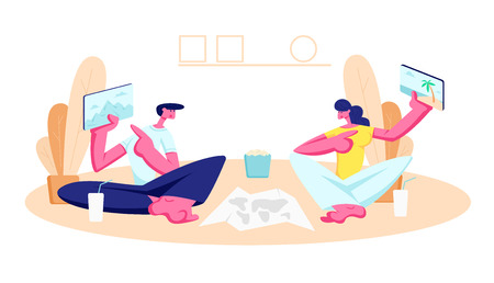 Young Man and Woman Sitting on Floor at Home Showing to Each Other Tablets with Pictures of Traveling Places. People Making Trip Route Choice for Vacation, Gadgets. Cartoon Flat Vector Illustration