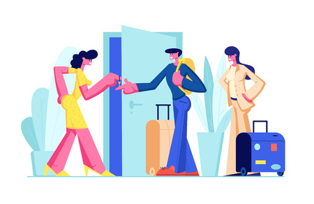 Happy Young Couple Rent Apartment for Leisure. Man and Woman with Luggage Stand near Open Door Taking Key from Home Owner. Traveling, Tourists Rent Flat for Vacation. Cartoon Flat Vector Illustration