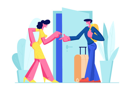 Happy Young Man with Luggage Stand near Open Door Rent Apartment for Leisure. Woman Owner Giving Key from Home to Lodger. Traveling, Tourist Rent Flat for Vacation. Cartoon Flat Vector Illustration Çizim