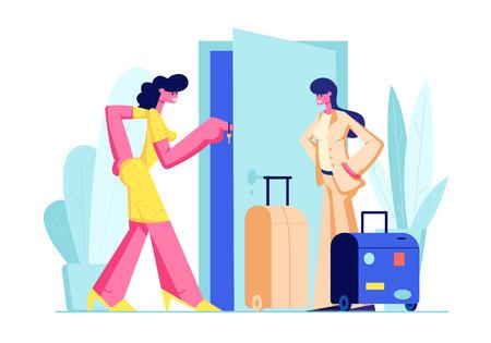 Dueña de la mujer dando la llave de la casa a la huésped femenina con el equipaje. Feliz joven viajero va a alquilar apartamento por ocio. Viajes, Alquiler Turístico Piso para Vacaciones. Ilustración de Vector plano de dibujos animados