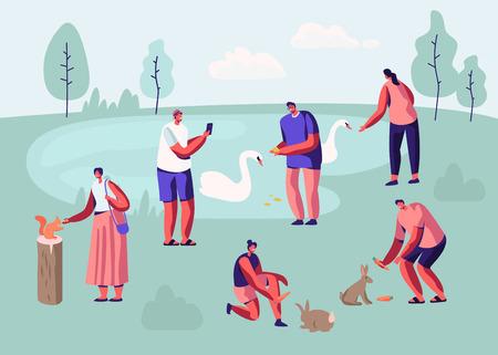 Persone che trascorrono del tempo nel parco degli animali. Personaggi maschili e femminili per il tempo libero in Zoo all'aperto comunicare con animali selvatici, nutrire, giocare, scattare foto, tempo libero. Cartoon piatto illustrazione vettoriale