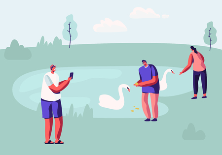 People Spending Time in Animal Park with Lake. Male and Female Characters Having Outdoors Leisure in Open Air Zoo Feeding Swans, Taking Landscape Pictures, Sparetime. Cartoon Flat Vector Illustration Vettoriali