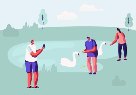 Persone che trascorrono del tempo nel parco degli animali con il lago. Personaggi maschili e femminili che hanno tempo libero all'aperto nello zoo all'aperto che nutrono i cigni, scattano foto di paesaggi, Tempo libero Cartoon piatto illustrazione vettoriale Vettoriali