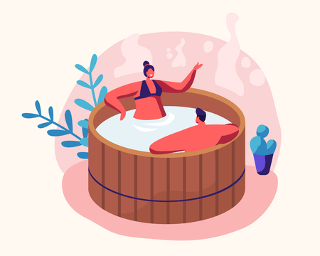 Couple of Young Man and Woman Sitting in Wooden Bath with Water Taking Sauna and Spa Water Procedure. Relaxation, Body Care Therapy, Wellness, Hygiene, Honeymoon, Date Cartoon Flat Vector Illustration