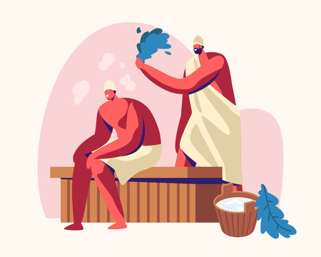 Sauna Spa Water Procedure. Relaxation, Body Care Therapy, Couple of Men Sitting on Wooden Bench in Steam Room in Bath Beating Each Other with Broom, Wellness, Hygiene, Cartoon Flat Vector Illustration 일러스트