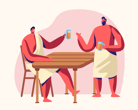 Men Sitting in Steam Room Drinking Bear. Sauna and Spa Water Procedures. Relaxation, Body Care Therapy, Wooden Bath, Wellness, Hygiene, Weekend Leisure, Sparetime. Cartoon Flat Vector Illustration