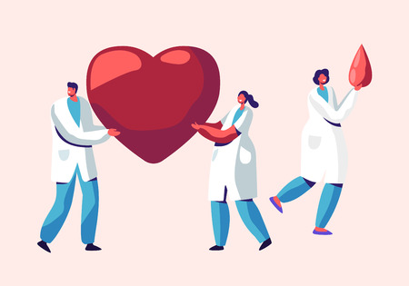Healthcare, Transplantation, Blood Donation Male and Female Characters in Medical Uniform, Doctors, Nurses Carry Huge Heart and Blood Drop in Hands. Donor Charity Cartoon Flat Vector Illustration Illustration
