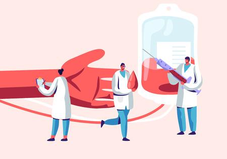 Donación de sangre. Personajes masculinos y femeninos en uniforme médico que hacen transfusión de sangre de la mano humana a un recipiente de plástico. Donación, laboratorio, salud, caridad., Caricatura, plano, vector, ilustración