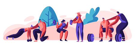 People Training in Gym with Coach Help. Male and Female Characters in Sports Wear Workout with Weight and Dumbbells. Training, Exercises, Sport Activity, Healthy Life. Cartoon Flat Vector Illustration Illustration