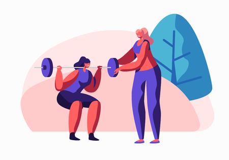 Woman Squatting with Weight in Gym, Female Coach Character Helping in Training. Girl in Sportswear Workout, Prepare for Competition, Exercise, Sport Activity Lifestyle Cartoon Flat Vector Illustration