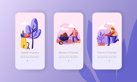Characters Growing, Planting, Caring of Trees in Garden Concept for Website or Web Page, Gardening People Carry Soil, Cut Branches. Mobile App Page Onboard Screen Set Cartoon Flat Vector Illustration