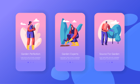 Male and Female Characters Growing, Planting and Caring of Trees in Garden Concept for Website or Web Page. Gardening People, Hobby Mobile App Page Onboard Screen Set, Cartoon Flat Vector Illustration