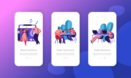 People Listen and Work on Radio Concept for Website or Web Page, Music and News Broadcasting, Dance, Radio Transmission with Host Mobile App Page Onboard Screen Set, Cartoon Flat Vector Illustration Illustration