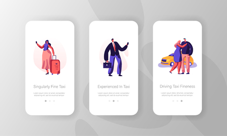 Taxi Service Concept for Website or Web Page. People with Luggage Call Car with Driver by Smartphone Mobile App Page, Yellow Cab Waiting Passenger Onboard Screen Set, Cartoon Flat Vector Illustration