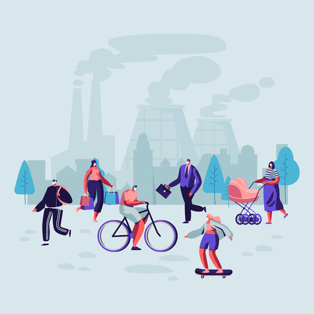 Sad People Wearing Protective Face Masks Walking on Street Against Factory Pipes Emitting Smoke. Fine Dust, Air Pollution, Industrial Smog, Pollutant Gas Emission. Cartoon Flat Vector Illustration
