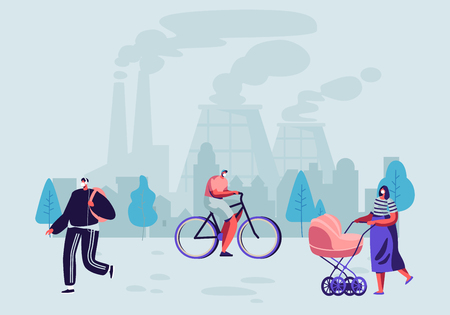 Pollutant Gas Emission. People in Protective Face Masks Live in Polluted City Walking on Street Against Factory Pipes Emitting Industrial Smog, Fine Dust Air Pollution Cartoon Flat Vector Illustration Illustration