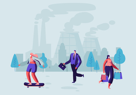Air Pollution, People in Protective Face Masks Walk on Street Against Factory Pipes Emitting Smoke. Every Day Life, Fine Dust, Industrial Smog, Pollutant Gas Emission. Cartoon Flat Vector Illustration