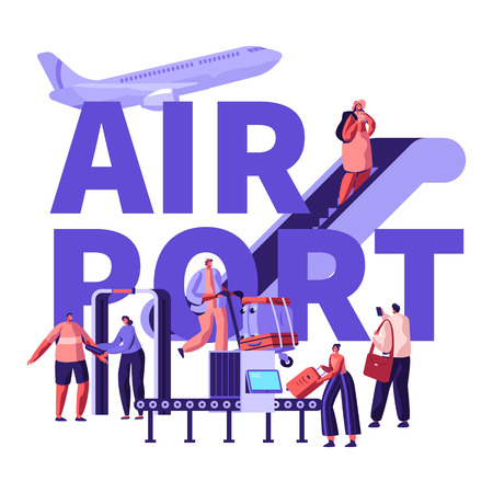 People in Airport Concept. Characters Prepare for Airplane Flight, Put Baggage on Conveyor Belt, Passing Control, Going Up by Ladder, Poster, Banner, Flyer, Brochure. Cartoon Flat Vector Illustration
