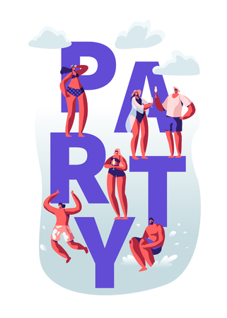 Summertime Beach Party Concept. Male, Female Characters Having Leisure, Relaxing on Seaside in Swimming Suits, Drinking, Jump to Water Poster, Banner, Flyer, Brochure. Cartoon Flat Vector Illustration