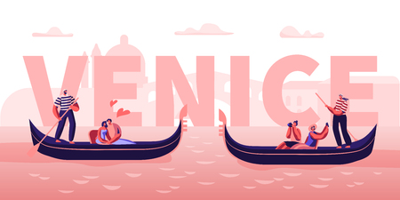 Love in Venice Concept. Happy Couples in Gondolas with Gondoliers Floating at Canal, Hugging, Making Photo. Romantic Tour in Italy Poster, Banner, Flyer, Brochure. Cartoon Flat Vector Illustration 스톡 콘텐츠 - 123180444