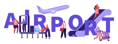 Passengers in Airport Concept. People Put Baggage on Conveyor Belt, Passing Control, Going Up by Ladder, Prepare for Airplane Flight, Poster, Banner, Flyer, Brochure. Cartoon Flat Vector Illustration