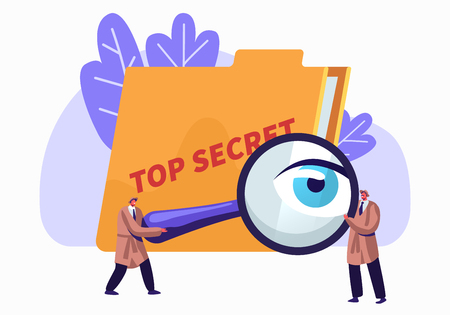 Police, Intelligence Service, Spies, Watchers Searching for Top Secret Files with Magnifier Glass. Police Private Detectives at Work Investigating and Solving Crimes. Cartoon Flat Vector Illustration