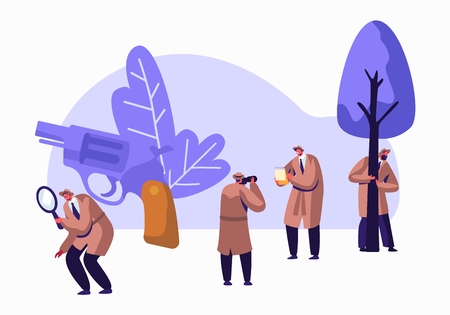 Police Detectives, Private Investigators at Work Solving Crimes. Top Secret Undercover Agents, Spies in Classic Hats and Cloaks Investigating with Magnifier Glass and Gun. Flat Vector Illustration Illustration