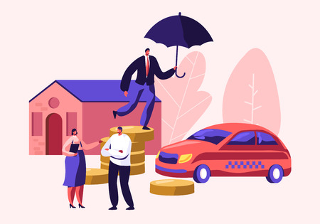 Client Speaking with Insurance Woman Agent for Signing Policy for Property Home and Car Protection. Man with Umbrella on Coin Pile. Guarantee and Secure in Future. Cartoon Flat Vector Illustration Иллюстрация