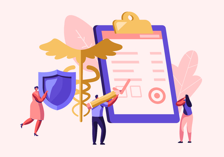 People Fill Health Form Insurance Policy Document. Woman Holding Protective Shield. Caduceus Symbol. Signing Insurance for Health Medical Protection for Life Guarantee Cartoon Flat Vector Illustration Иллюстрация