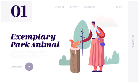 Woman Spending Time in Open Air Animal Park on Nature. Female Character Having Summer Outdoors Leisure in Zoo Feeding Squirrel, Website Landing Page, Web Page. Cartoon Flat Vector Illustration, Banner