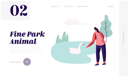 Woman Spending Time in Open Air Animal Park with Lake. Female Character Having Summer Outdoors Leisure in Zoo Feeding Swans, Website Landing Page, Web Page. Cartoon Flat Vector Illustration, Banner