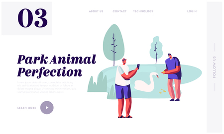 People Spend Time in Open Air Animal Park. Man Take Picture of Friend near Beautiful Lake with Swans . Summer Outdoors Leisure. Website Landing Page, Web Page. Cartoon Flat Vector Illustration, Banner Reklamní fotografie - 123180455