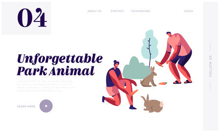 People Spend Time in Outdoor Zoo, Communicating and Playing with Wild Animals, Feeding Rabbits, Summer Leisure, Animal Park Website Landing Page, Web Page. Cartoon Flat Vector Illustration, Banner