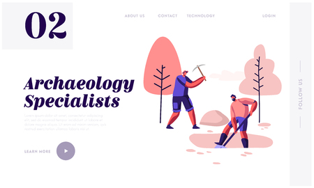 Archeology Specialists Remove Soil Layer with Shovel and Pickaxe, Scientists Working on Excavations Exploring Ancient Artifacts Website Landing Page, Web Page. Cartoon Flat Vector Illustration, Banner