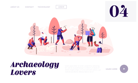 Archeologists, Paleontology Scientists Working on Excavations Exploring Artifacts and Studying Dinosaurs Fossil Skeleton Bones. Website Landing Page, Web Page. Cartoon Flat Vector Illustration, Banner