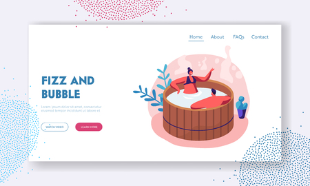 Loving Couple Sitting in Wooden Bath Taking Sauna and Spa Water Procedure. Relaxation, Body Care, Wellness, Honeymoon, Dating Website Landing Page, Web Page. Cartoon Flat Vector Illustration, Banner