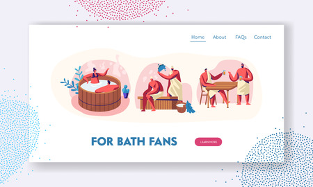 Sauna and Spa Water Procedures. Relaxation, Body Care Therapy, Couple in Wooden Bath, Men Steaming with Broom, Drinking Bear. Website Landing Page, Web Page. Cartoon Flat Vector Illustration, Banner