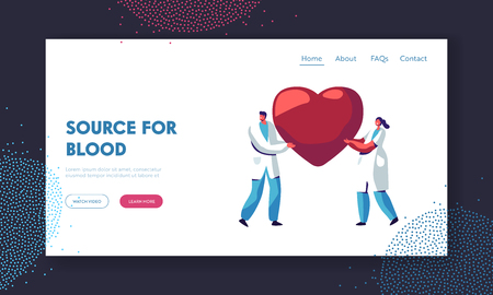 Healthcare, Transplantation, Blood Donation Website Landing Page, Male and Female Characters in Medical Uniform, Doctors, Carry Huge Heart in Hands. Web Page, Cartoon Flat Vector Illustration, Banner