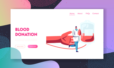 Blood Donation, Donor Bank Website Landing Page, Doctor in Medical Uniform Carry Huge Drop of Lifeblood, Hand and Plastic Bag Background, Transfusion Web Page. Cartoon Flat Vector Illustration, Banner Illustration
